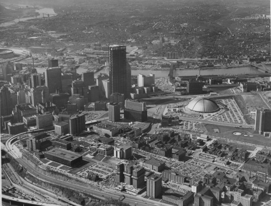 October 1970: An aerial view of Pittsburgh, including the Civic Arena, Uptown and U.S. Steel Tower still under construction. (The Pittsburgh Press)