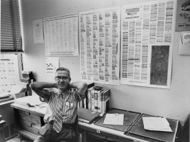 Pittsburgher and ad man Mac McGrew shows off his font-crafting acumen in 1972. Cutting-edge design indeed. (Pittsburgh Post-Gazette)