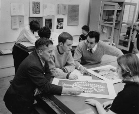 """Carnegie Tech students are hard at work studying typography in this picture, which accompanied an article entitled """"Rise of the Graphic Arts."""" (Stewart Love/The Pittsburgh Press)"""