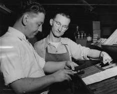 Apprentice printer Clarence Walter is hard at work here; he needed six years of training to advance to the rank of journeyman. His instructor, Albert Henle, was a 25-year veteran of the printing industry -- and a decorated veteran of World War II. (Post-Gazette)