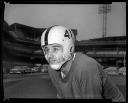 """Jug Girard was a veteran by the time he came to Pittsburgh. He'd played nearly a decade with the Packers and the Lions. During the '57 season, the Steelers used his as an end and a punter. After retirement he ran a Detroit-area bar called """"The Lion's Den,"""" then worked as a manufacturer's representative. He died in 1997 at age 69."""