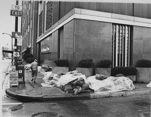 Sandbags were placed outside the headquarters of The Pittsburgh Press in June of 1972. (Howard R. Moyer/The Pittsburgh Press)