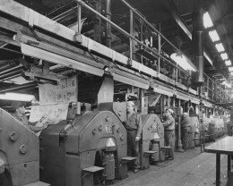 1957: A view of The Pittsburgh Press' printing press at 34 Blvd. of the Allies.