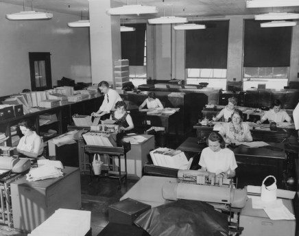 June 13, 1957: The bookkeeping or finance department of The Pittsburgh Press.