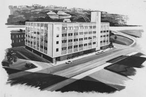 1962: An artist's conception for the 1962 addition and renovation of The Pittsburgh Press building to provide offices for the Pittsburgh Post-Gazette.