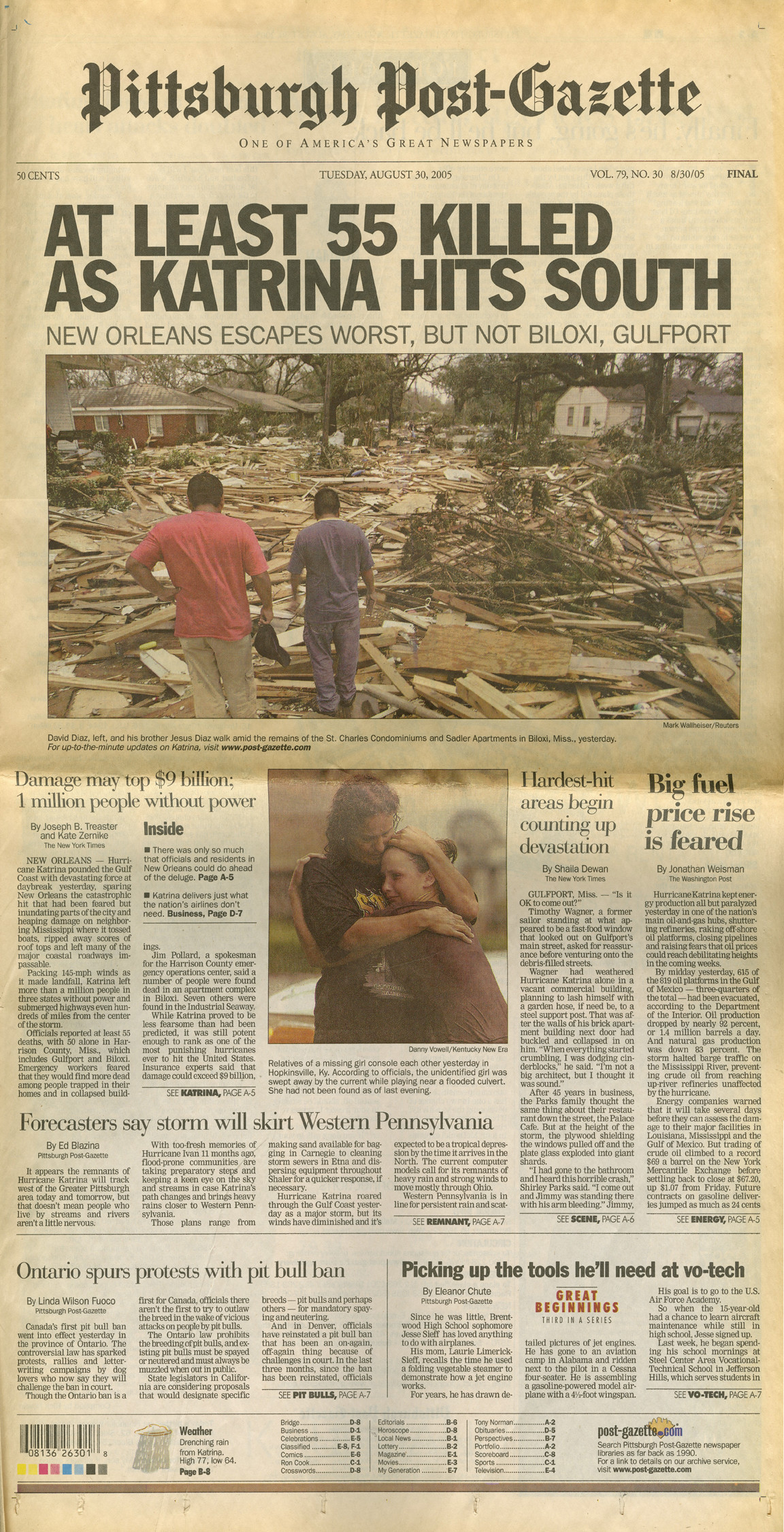 The Aug. 30, 2005, front page of the Post-Gazette.
