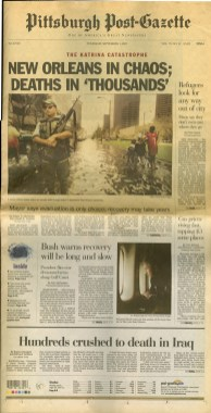 The Sept. 1, 2005, front page of the Post-Gazette.