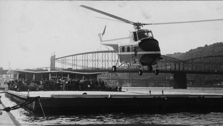 Seven-passenger copter rises from Monongahela heliport in preview lift-off (July 27, 1962)