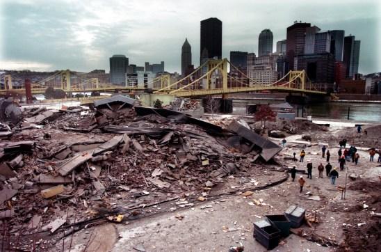 Debris from Three Rivers Plaza apartment complex.