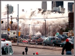 Three Rivers Plaza high rise apartment complex r being imploded at 7 a.m. (Post-Gazette photo)