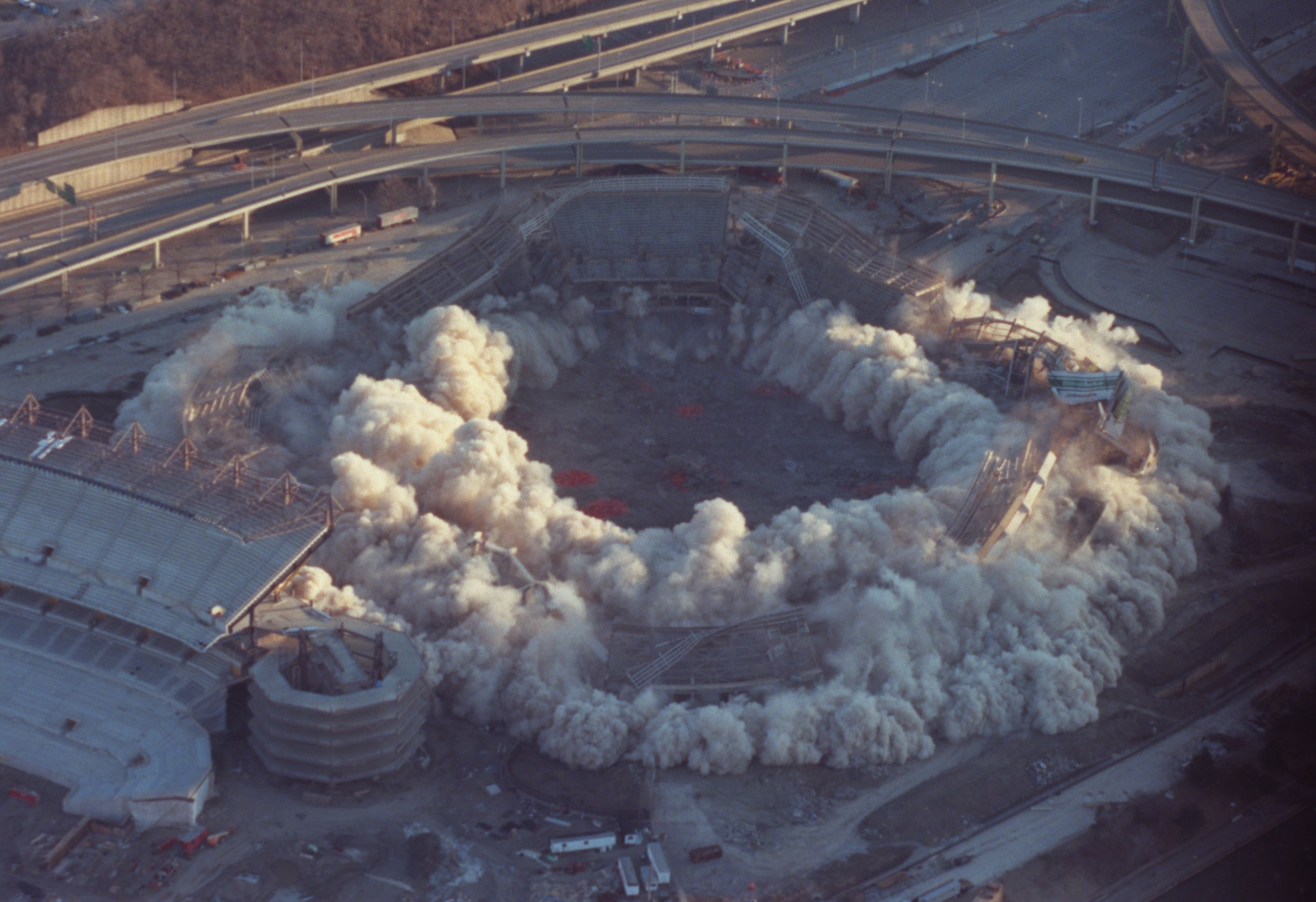 Three Rivers Stadium is absorbed by dust during the implosion Sunday morning at 8:00 a.m.