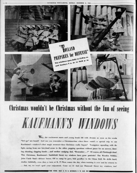 Kaufmann's ad on Dec. 8, 1941.