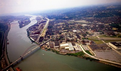 West End Bridge, the North Side and the Ohio River. (Dale Gleason/The Pittsburgh Press)