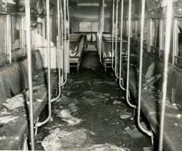 The inside of the Knoxville trolley, struck by lightning on May 5, 1950. (The Pittsburgh Press)