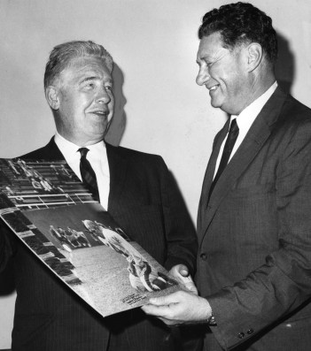 Steelers owner Art Rooney (left) and Berman hold a print of the famous picture.