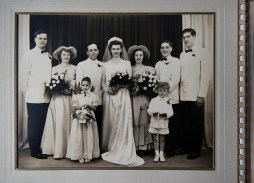 Alda Grazer Arnold (center) on the day of her wedding to George Edward Bisbey on June 21, 1950. Weeks earlier, Ms. Grazer boarded a trolley that was struck by lightning in Downtown Pittsburgh. Her main concern at the time was her eyebrows and hair, singed in the aftermath of the lightning strike.