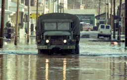 Flooded streets.