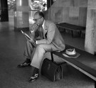 August 1952: One stylish traveler waited for his flight. (Stewart Love/The Pittsburgh Press)