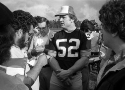 Steelers center Mike Webster takes center stage. Webster died of a heart attack at age 50 on Sept. 24, 2002. (Albert M. Herrmann Jr./The Pittsburgh Press)