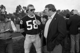 Steelers linebacker Jack Lambert is interviewed by commentator John Madden. (Albert M. Herrmann Jr./The Pittsburgh Press)