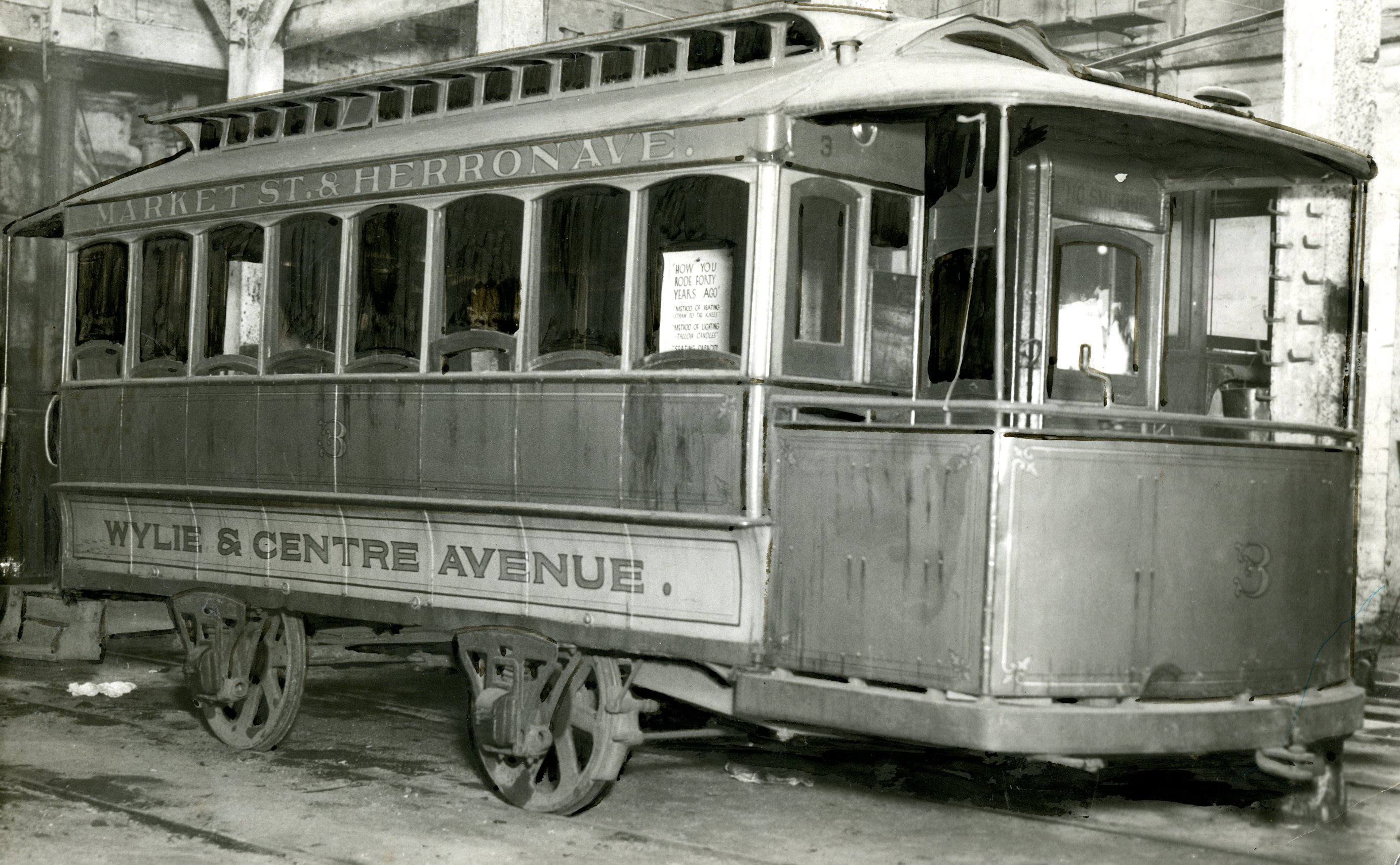 A street car which operated in the Hill District in the 1920s