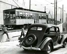 Going up the trolley line...