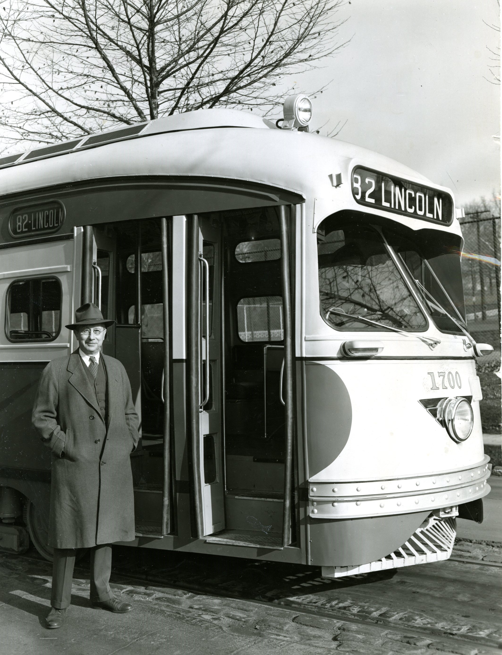 Trolley car No.82, going 'Dahtahn,' the passengers of Port Authority bus line No. 82 would know.