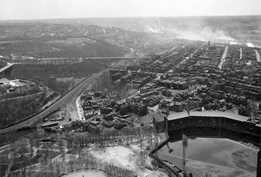 Oakland, facing south. in the foreground is Forbes Field. (Stewart Love/The Pittsburgh Press)