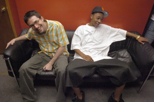 Khalifa with then-manager Benjy Grinberg in a Lawrenceville recording studio in 2005. (Steve Mellon/Post-Gazette)