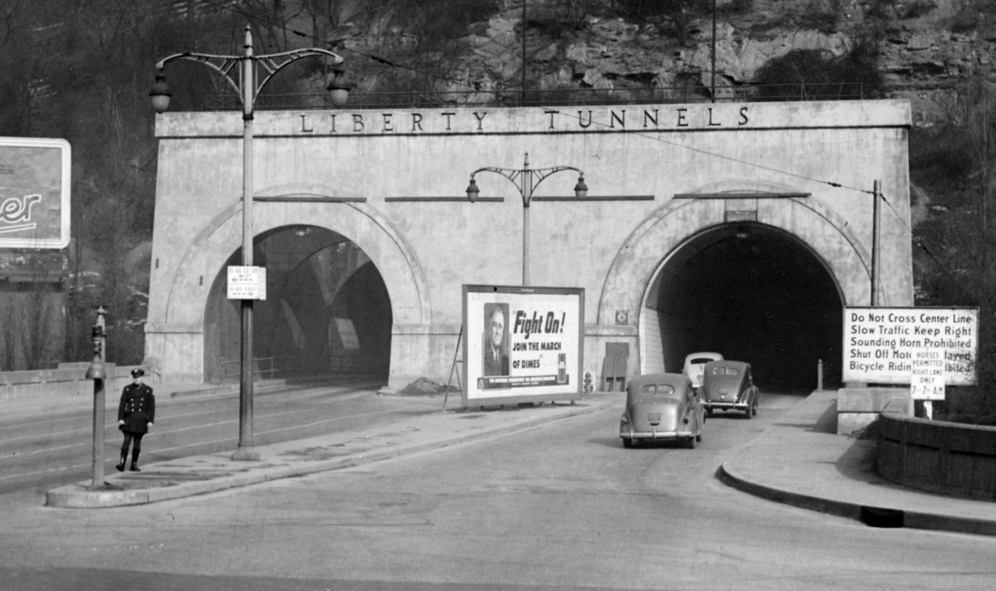 At the Liberty Tunnel's southern end, the Liberty Tubes on Jan 29, 1946. (Post-Gazette)