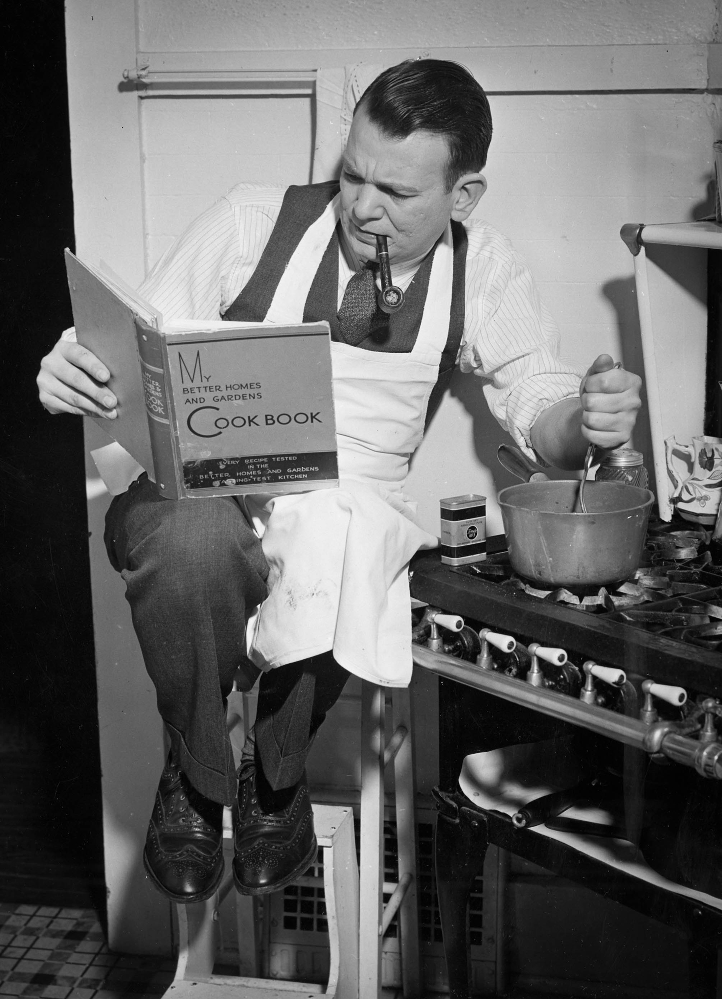You can't make your house a home without have meals in it ... There's nothing to be scared about in a good cook book. (From original caption in Sept. 18, 1938 Pittsburgh Press.)