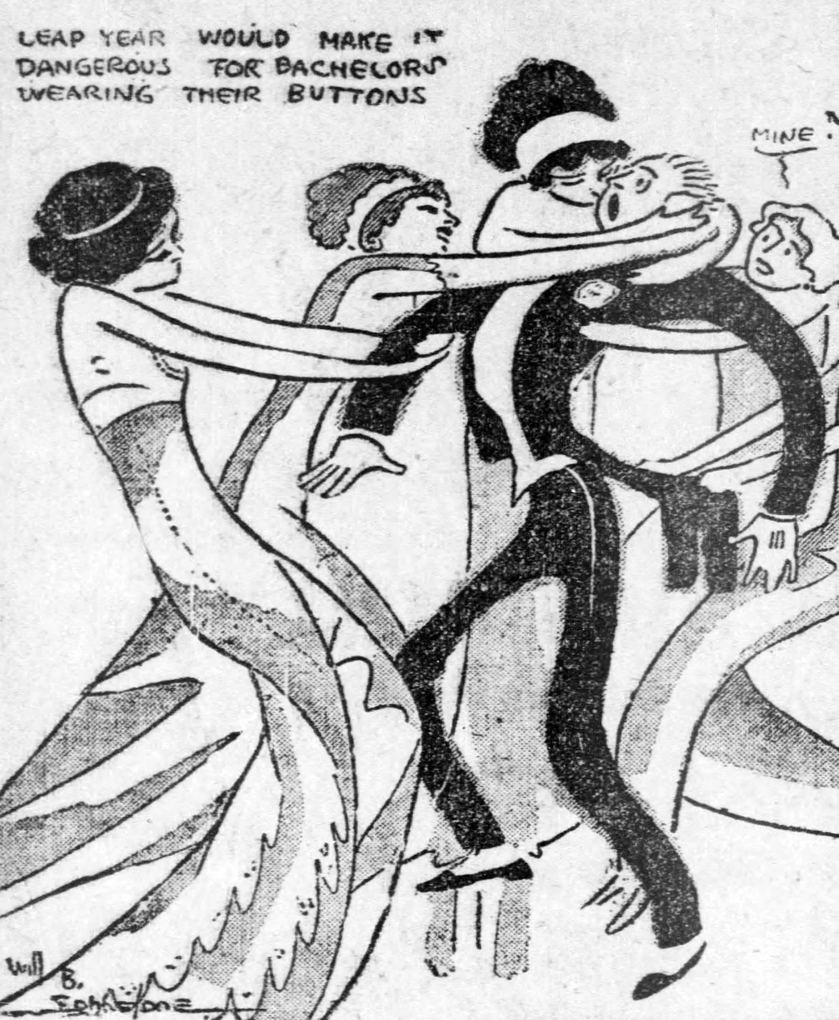 Cartoon accompanying 1912 story on bachelor pins.