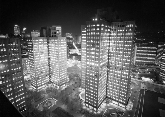 Gateway Center at night sometime in 1964. (Post-Gazette)