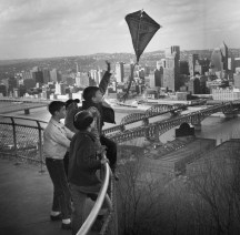 Boys tossing a kite on March 15, 1964. (Post-Gazette)