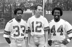 Cowboys Tony Dorsett, Roger Staubach and Robert Newhouse. (Morris Berman/Post-Gazette)