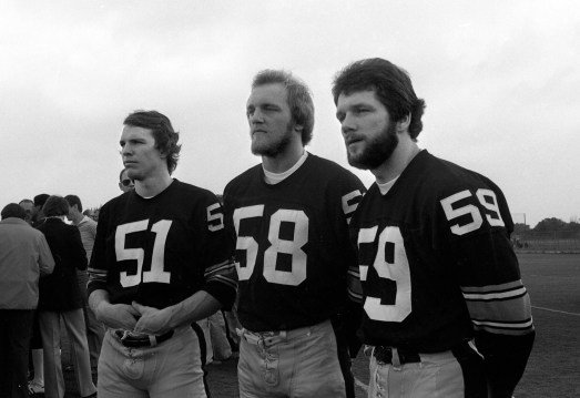 Steeler linebackers Loren Toews, Jack Lambert and Jack Ham. (Morris Berman/Post-Gazette)
