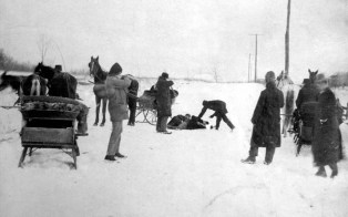 The wounded Biddle brothers lie in the snow after being captured near Moraine State Park in Butler County. Their escape from the Allegheny County Jail was made possible by Kate Soffel, the warden's wife.