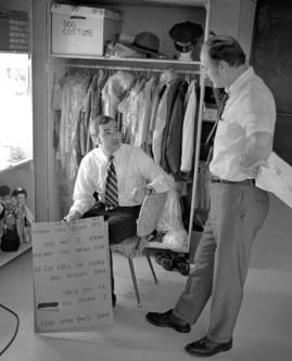 Props manager David Newell (left) and set designer Jack Guest discuss production details.