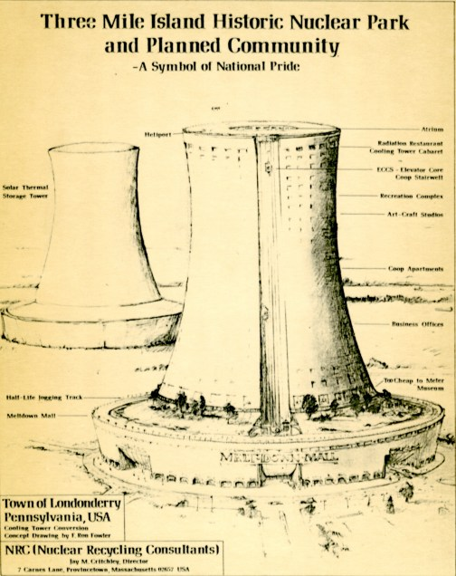 """This diagram shows artist Jay Critchley's plan for a park to be built in the uncontaminated section of Three Mile Island. The park would have included a shopping plaza, which Critchley named the """"Meltdown Mall,"""" and a museum about nuclear power. (Associated Press)"""