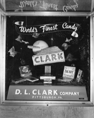 This undated picture shows a Clark Bar window display in Downtown Pittsburgh. (Pittsburgh Press)
