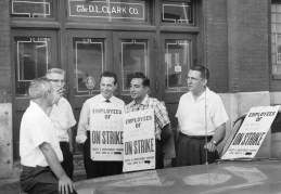 Local 12 Bakery and Confectionery workers picket the D.L. Clark Co. at Martindale St. during a strike. Picture taken Aug. 13, 1959. (Pittsburgh Sun-Telegraph)