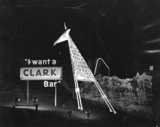 """This undated photo features a member of Clark's """"Center of Attraction Zoo."""" The television ad campaign showed cartoon animals crooning """"I want a Clark Bar!"""" and ran during the 1960s. (Pittsburgh Press)"""