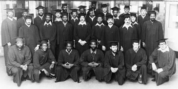 Pictured are some of the 65 students awarded high school, college and vocational degrees at Western Penitentiary in 1983. Photo published Jan. 23, 1983. (Pittsburgh Press)