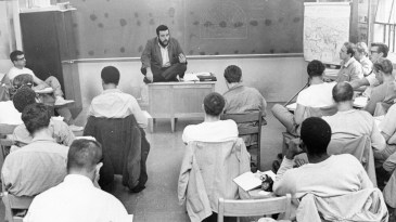 "A class meets as part of Western Penitentiary's educational program. ""This is the first aspect of prison life I have experienced on the positive side,"" one unnamed inmate told the Pittsburgh Press. Photo taken in Nov. 1969. (Pittsburgh Press)"