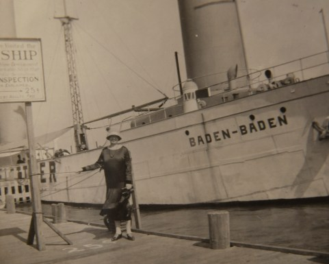 Clara Burnett and the ship Baden-Baden.