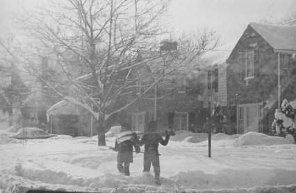 By Jan. 28, 1978, the blizzard had subsided, leaving some to offer their services to Mt. Lebanon residents clearing the windblown snow.