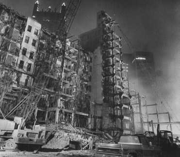 Destruction of Jenkins Arcade and neighboring buildings in February of 1984. (Mark Murphy/Post-Gazette)