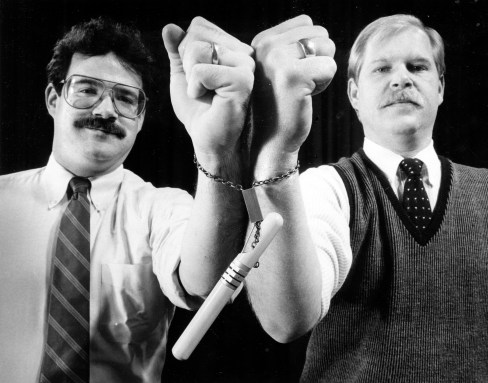 Gary Dimmick, left, and Scott Lockerman said in November 1986 that $100,000 would give a boost to their lock invention. The duo has four patents. (Thomas Ondrey/Pittsburgh Press)