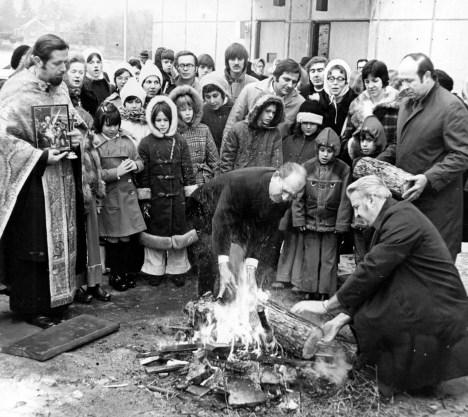 Parishoners at Holy Trinity Serbian Orthodox church in Whitehall burn a yule log to mark the Serbian Orthodox Christmas, which is based on the Julian calandar, Jan 7, 1974. (Anthony Kaminski/Pittsburgh Press)