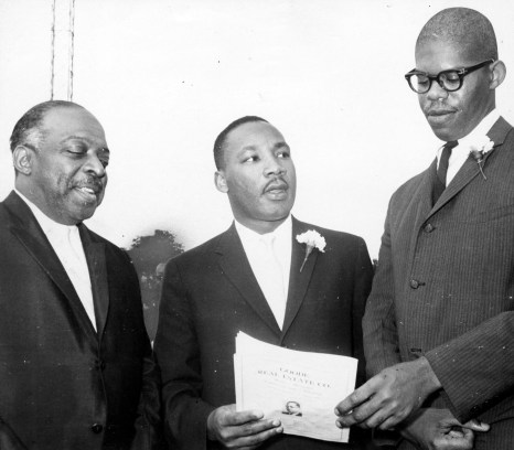 "From left, bandleader Count Basie, the Rev. Martin Luther King Jr. and Southern integration leader Obadiah Simms attend ""Freedom Jubilee"" at Forbes Field, July 9, 1961. (Post-Gazette)"
